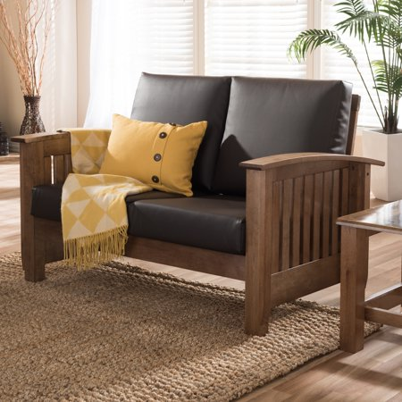 Cool Baxton Studio Callidora Modern Mission Dark Brown Faux Leather Loveseat Caraccident5 Cool Chair Designs And Ideas Caraccident5Info