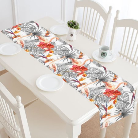 MYPOP Tropical Flamingo Table Runner Home Decor 14x72 Inch, Palm Tree Leaves Table Cloth Runner for Wedding Party Banquet Decoration - Palm Tree Table Decorations