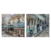 "Masterpiece Art Gallery Bistro de Paris French Cafe I & II Square by Studio Arts Canvas Art Print Set of 2 (20"" x 20"")"