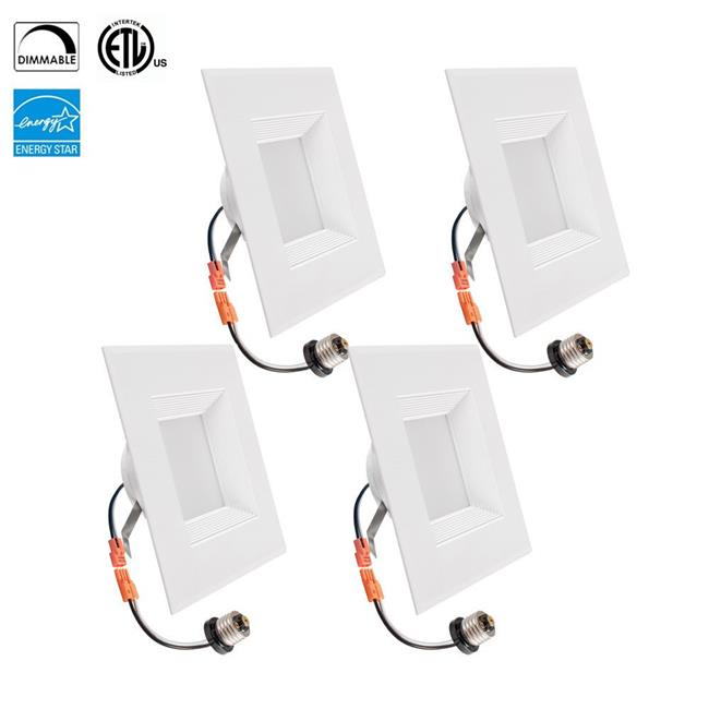 TriGlow T80623-4 12 watt Retrofit Downlight Kit - 100 watt Replacement, Fit for 6 in. Square Opening, Dimmable, 3500K, E26 Base, ETL & Energy Star Qualified, Pack of 4 - image 1 de 1