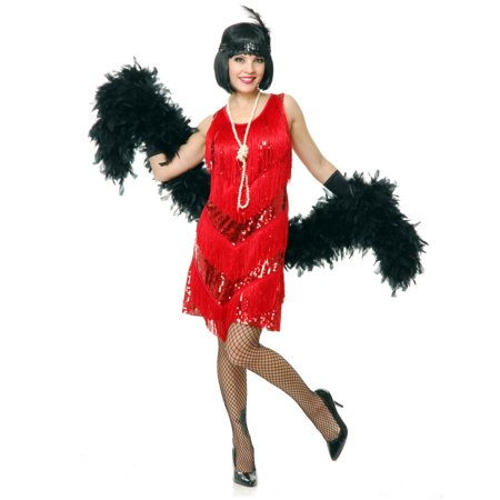 Womens Red Roaring 20s Four Tier Flapper Costume Dress - Roaring 20 Dresses