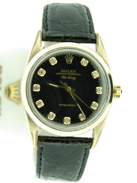 Pre-Owned Mens Rolex Gold Shell Air-King Black Diamond 5520 (SKU 555393CMT)