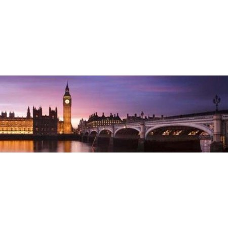 London View over the Thames Westminster Bridge with Big Ben and Parliament Sunset 36x12 Photograph Art Print Poster Travel England United Kingdom - London England Halloween