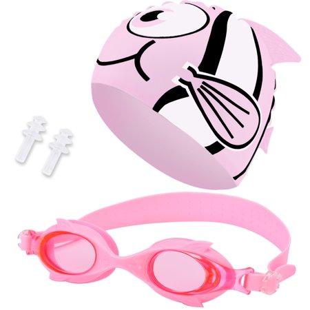 Swim Cap Swim Goggles Set, Aniwon Antifog Swimming Accessories with Ear Plugs Waterproof Swimming Cap for Kids Girls (Accessories Swim Caps)