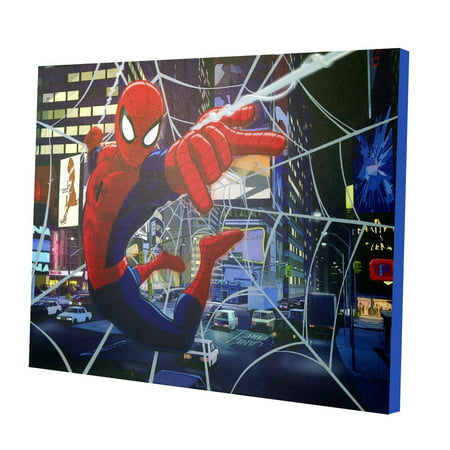 Marvel Spiderman Light Up Canvas Wall Art with BONUS LED Lights ...