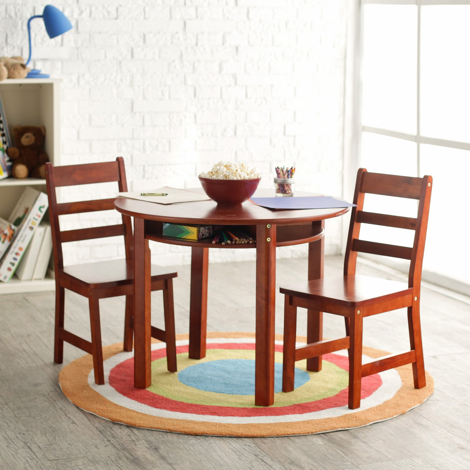 Lipper Childrens Round Table And Chair Set Walmartcom - Round table and stool set