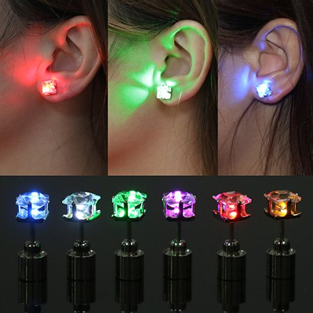 Halloween Jewlery (Girl12Queen LED Light Ear Studs Square Earrings for Dance Christmas Halloween)