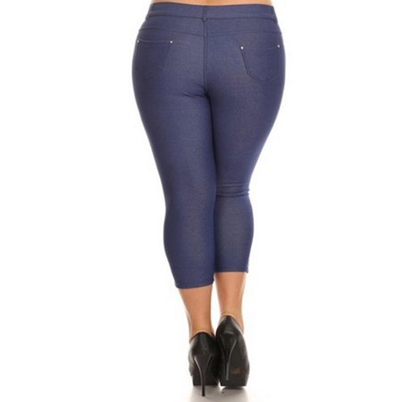 MOA COLLECTION Women's Plus Size Solid Casual Lightweight Stretchy Comfort Pocket Jean Legging Pants ()