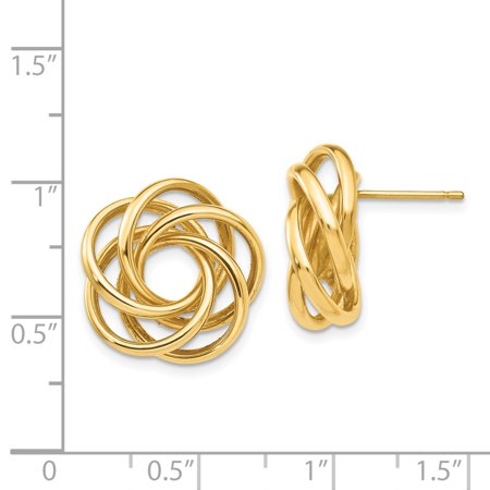 14K Yellow Gold Love Knot Earrings - image 1 de 2