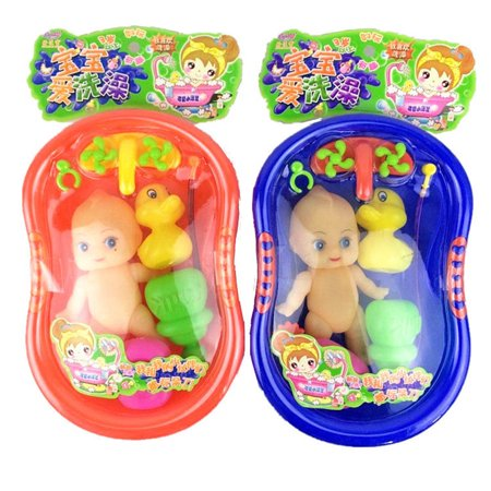 Funny Baby Doll in Bath Tub With Shower Accessories Set Kids Pretend Role Play