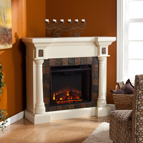 **NEW**Southern Enterprises Kentshire Convertible Electric Fireplace, Ivory with Earth-Tone Faux Slate