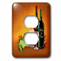 3dRose Fine Wine with lovely wine bottles, grapes and elegant wine glasses - 2 Plug Outlet Cover