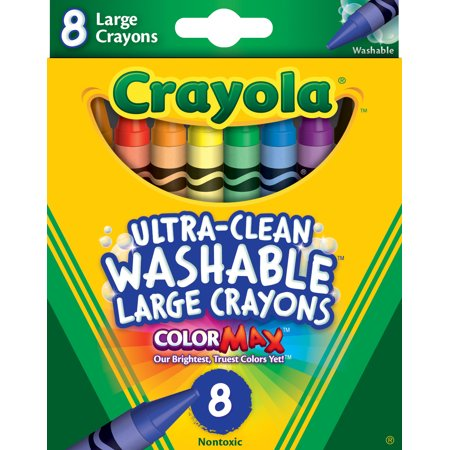 Crayola Ultra-Clean Washable Large Crayons, 8 Count (Red Crayola Crayon)