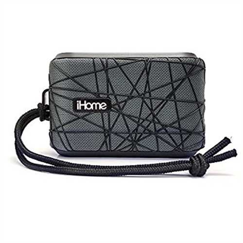 Refurbished iHome Slip and Water Resistant Fabric Rechargeable Bluetooth Speaker with Speakerphone (Gray/Black)