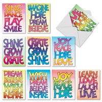 M3317 Word Stacks: 10 Assorted Blank Note Cards with Envelopes, The Best Card Company