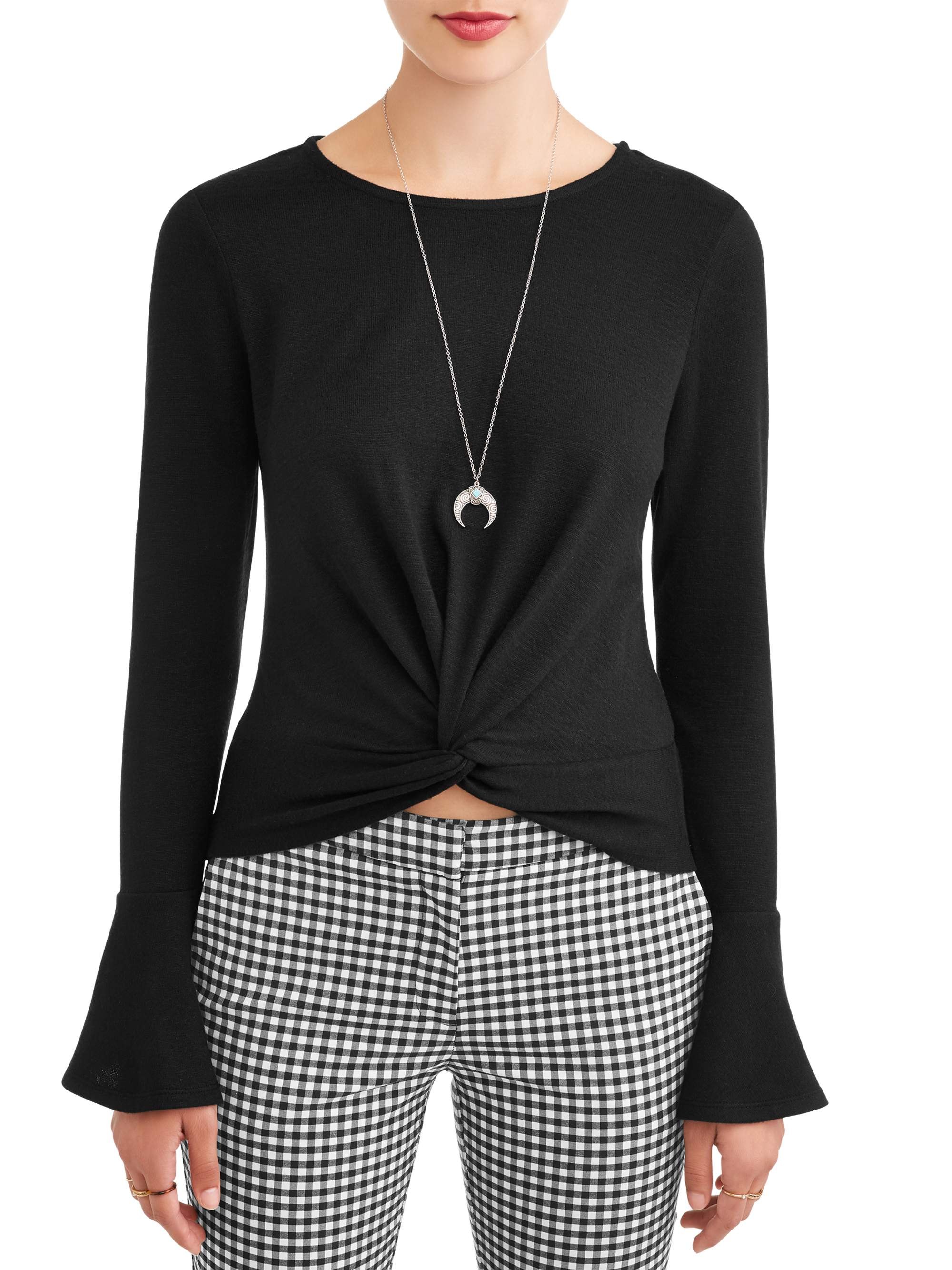 Juniors' Twisted Front Bell Sleeve Blouse with Necklace 2fer
