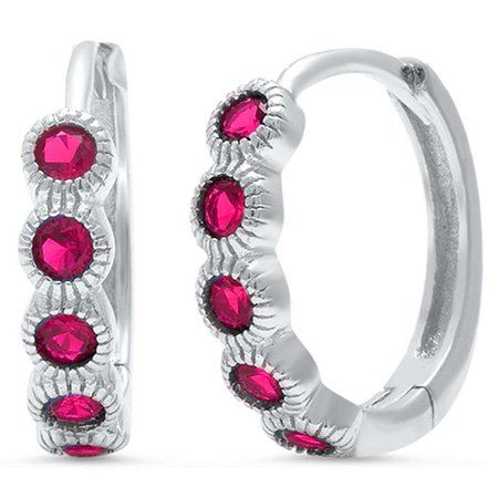 - Round Bezel Set Simulated Ruby Cubic Zirconia Hoop Earrings Sterling Silver