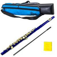 PAITITI Blue Plated Gold Key Open Hole C Flute, Quality Sound with Lightweight Case, Case Cover and More