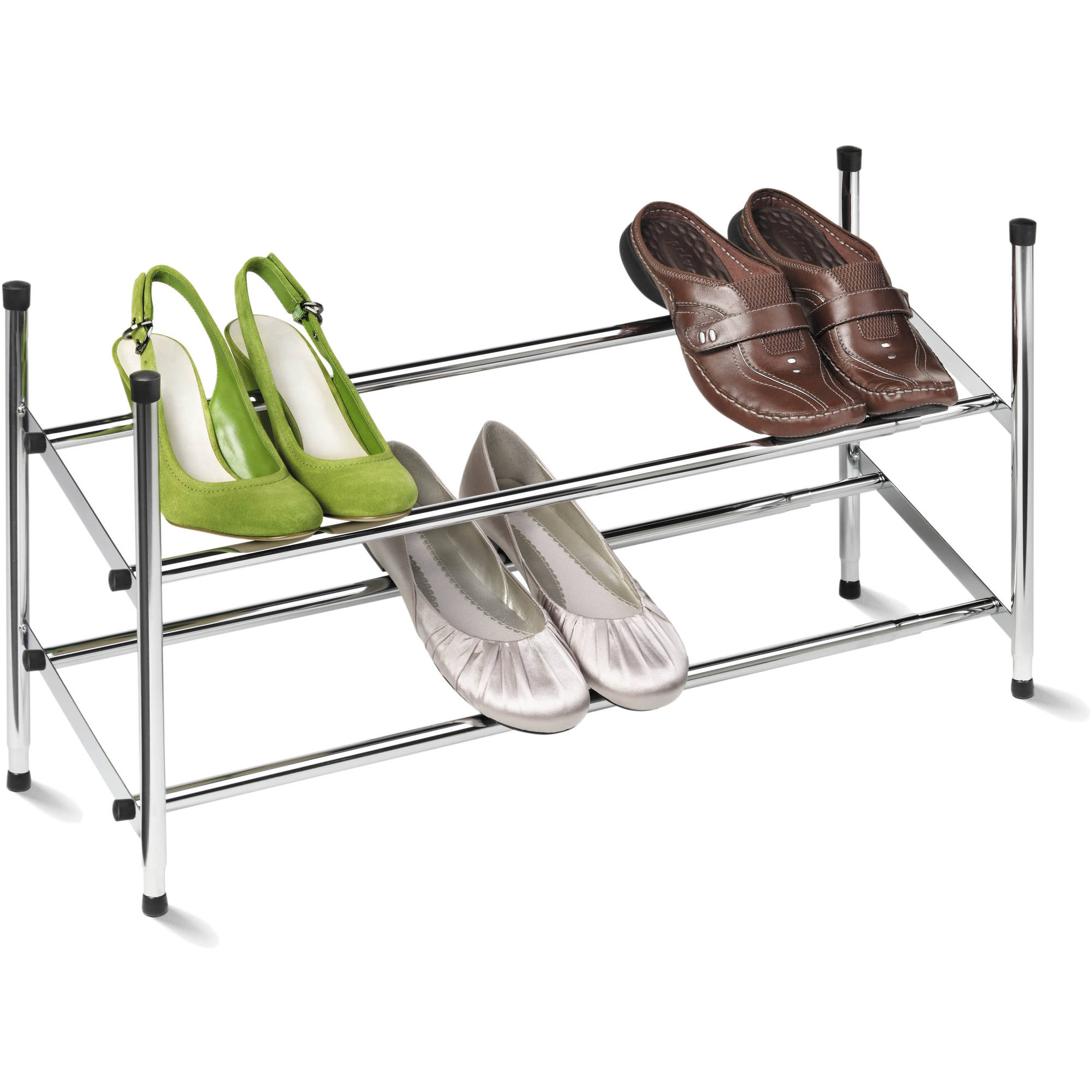 """Honey Can Do 24"""" to 44"""" Expandable Steel Shoe Rack, Chrome"""
