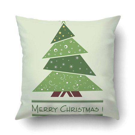 BPBOP Xmas Colorful Illustration With Decorated Green Christmas Tree Christmas Theme Pillow Case Cushion Cover Case Throw Pillow Case 16x16 inches](Cubicle Christmas Decorating Themes)