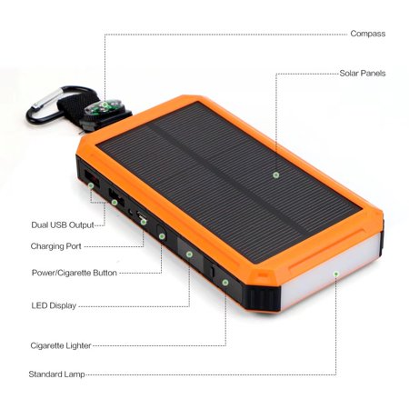 X Dragon 15000Mah Solar Charger Power Bank Usb Solar Panel Battery Charger With Cigarette Lighting  Bright Led Light For Cell Phone  Android Smartphone  Iphone  Samsung  Camping  Hiking And More