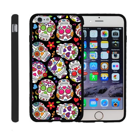 Apple iPhone 6/6s 4.7, [SNAP SHELL][Matte Black] 2 Piece Snap On Rubberized Hard Plastic Cell Phone Cover with Cool Designs - Sugar Skull Design ()
