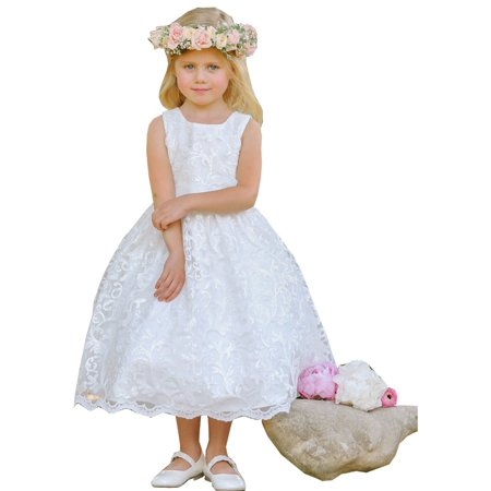 Tip Top Kids Little Girls White Sparkle Sequin Lace Overlay