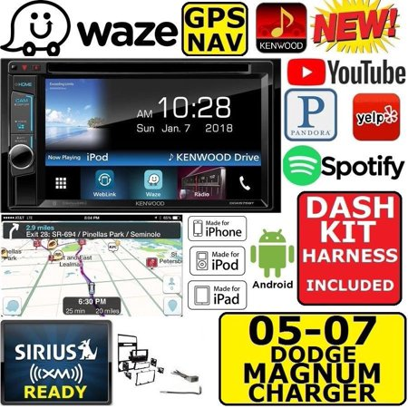 2005-07 DODGE MAGNUM CHARGER KENWOOD WAZE NAVIGATION APPLE ANDROID CAR STEREO PKG.  AM/FM/CD/DVD BLUETOOTH/USB OPTIONAL SIRIUSXM XM SIRIUS
