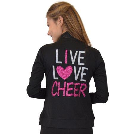 Rayon Coat - Women's Rayon Live Love Cheer Warm Up Jacket - Small (0-2) / Black