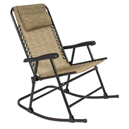 Best Choice Products Foldable Zero Gravity Rocking Patio Recliner Lounge Chair W Headrest Pillow Beige