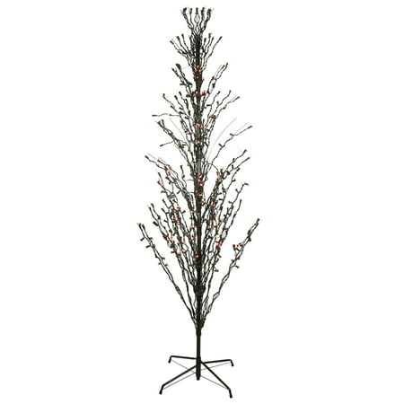 6' Orange LED Lighted Halloween Cascade Twig Tree Outdoor Decoration