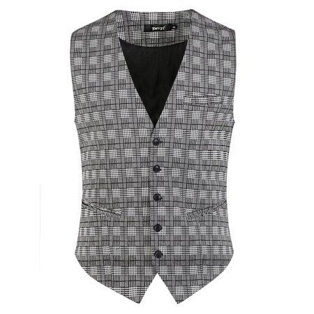 Men Plaid Dress Vest Slim Fit V-Neck Business Suit 5 Button Waistcoat