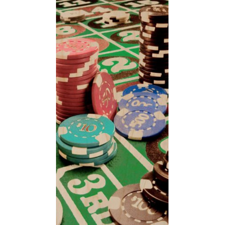 Poker Casino Chips Gambling Cards Blackjack & Craps Table - Plywood Wood Print Poster Wall Art - Blackjack Table