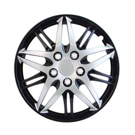 Wheel Cover, 14 Inch Silver With Black Chrome Jeep Vw Toyota Honda Hubcaps (Sold by Case, Pack of 4)