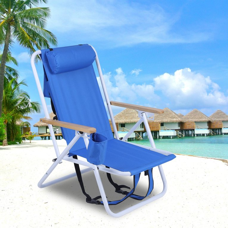 Folding Backpack Beach Chair With Cup Holder Portable 600D Polyester Fabric Chair Adjustable Outdoor Furniture(One Piece)