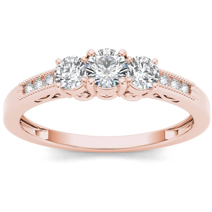 Imperial 1 2 Carat T.W. Diamond Three-Stone 14kt Rose Gold Engagement Ring by Imperial Jewels