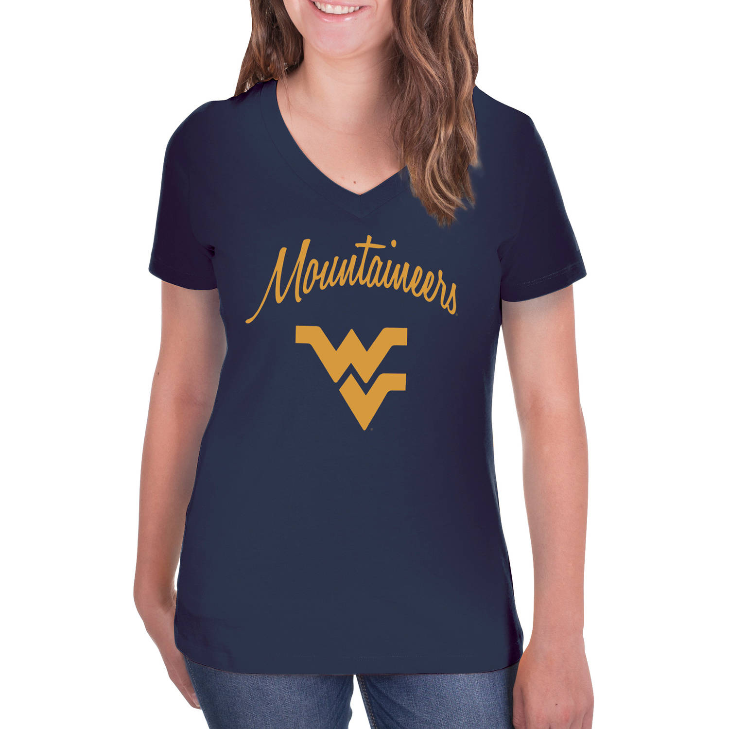 NCAA West Virginia Mountaineers Women's V-Neck Tunic Cotton Tee Shirt