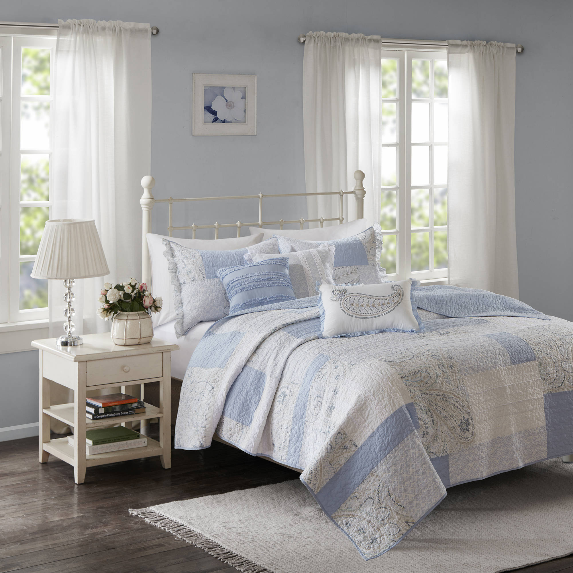 Home Essence Laurette Cotton Percale Quilted Coverlet Set by E&E Co.
