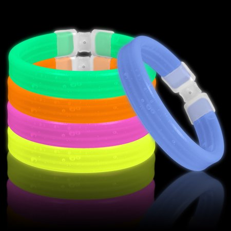 Lumistick Glow Band Bracelets - Triple Wide Neon Party Favor Glow Sticks Assorted Color Mix with Connectors