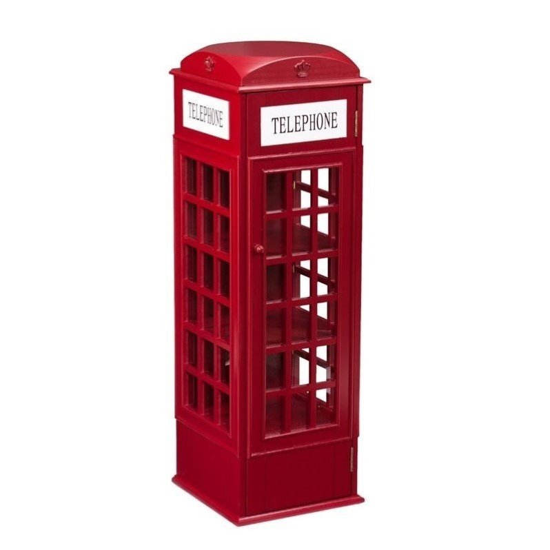 Southern Enterprises Phone Booth Storage Cabinet in Red