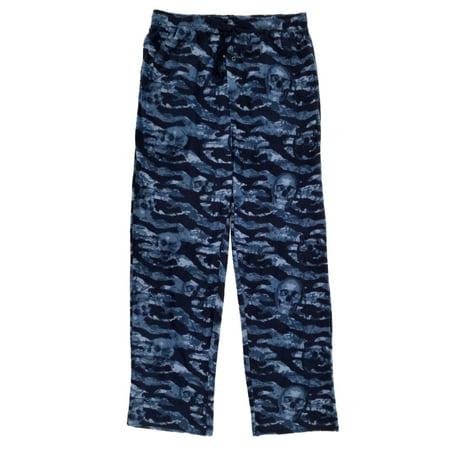 1921123ca1 Mens Blue Camouflage Skulls Fleece Sleep Pants Pajama Bottoms