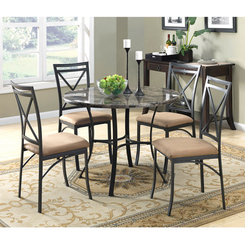 Mainstays 5 Piece Faux Marble Top Dining Set Image 2 Of 3