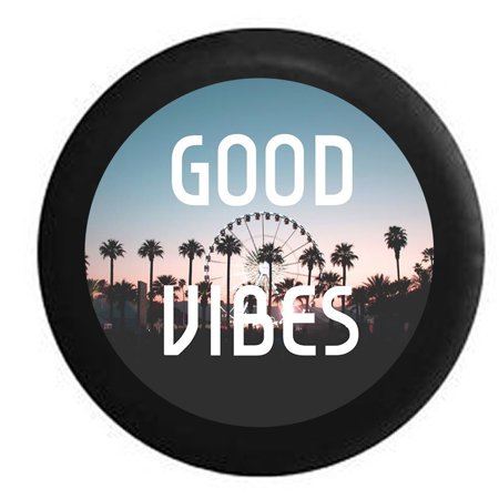 Good Vibes Palm Trees Love Life Spare Tire Cover for Jeep RV 31 Inch ()