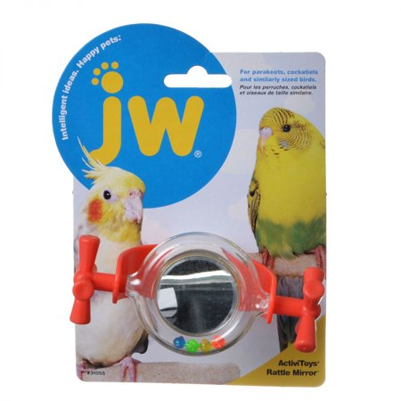JW Pet Company Activitoy Rattle Mirror Small Bird Toy Colors Vary The Rattle Mirror Activitoy is a bolt on spinning colorful plastic toy with a round mirror at it's center and textured wheels at each end. This spinning toy has small plastic beads sealed into the edge of the mirror that roll and rattle as the bird manipulates the toy and spins the pieces. The innovative design is physically challenging and intellectually stimulating. Great for parakeets, cockatiels and other similar sized birds.This Product/Package Measures: 7.00 in. L x5.00 in W x3.50 in D