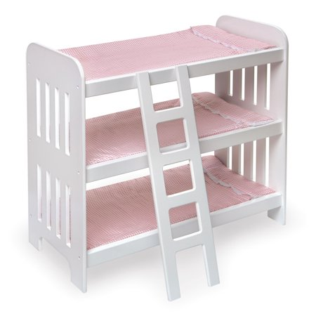 Badger Basket Triple Doll Bunk Bed with Ladder and Bedding - Pink Gingham - Fits American Girl, My Life As & Most 18