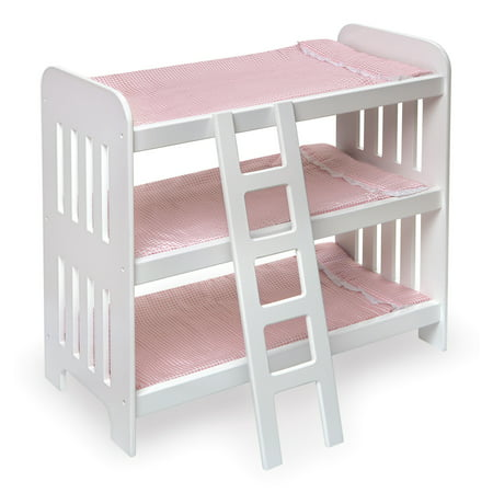 - Badger Basket Triple Doll Bunk Bed with Ladder and Bedding - Pink Gingham - Fits American Girl, My Life As & Most 18