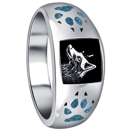 Men's Sterling Silver Turquoise Gemstone Inlay Wolf with Paw and Claw Southwestern Style (Sterling Silver Turquoise Stone Ring)