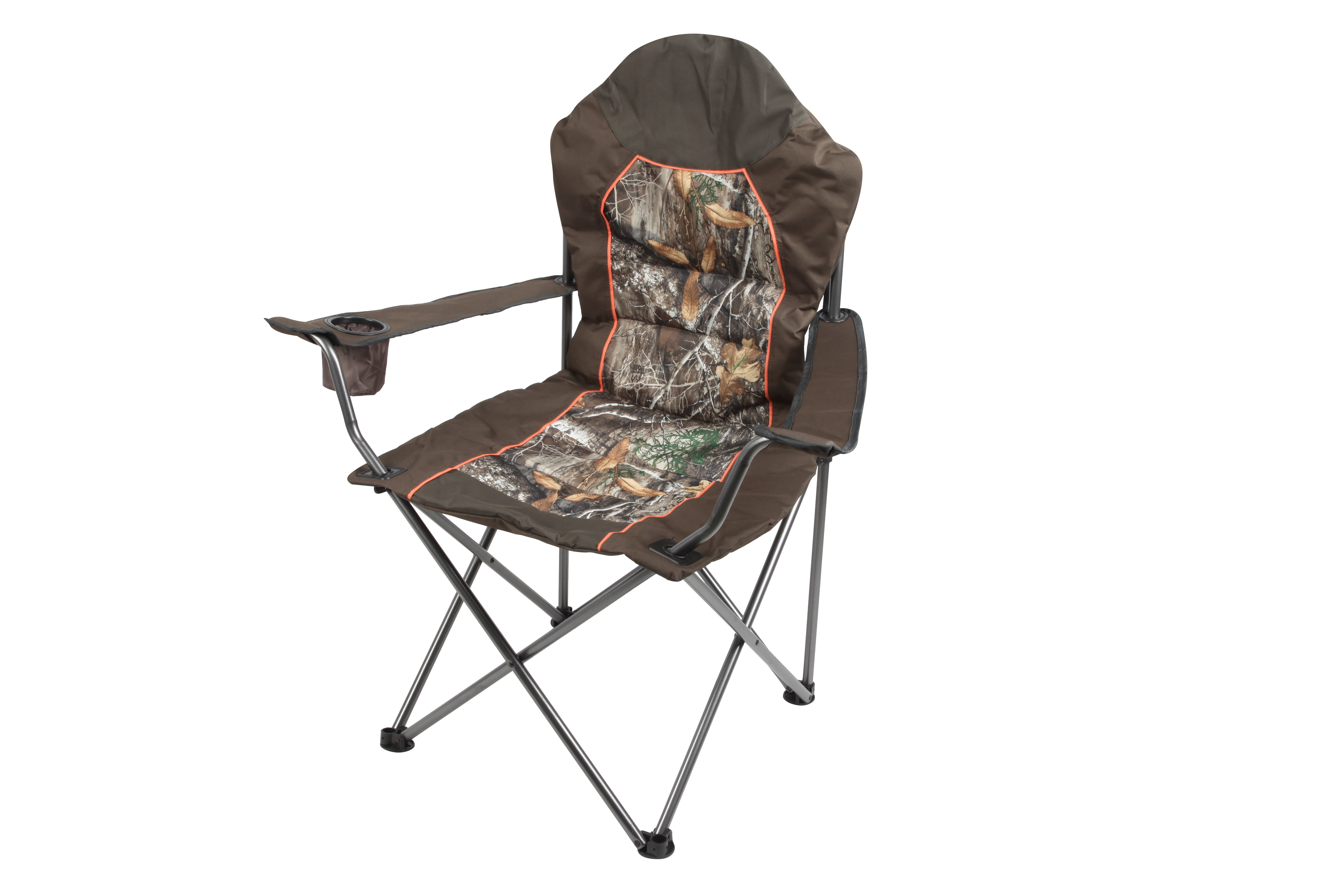 Brown Realtree Edge Padded Outfitter Chair with Insulated Cup Holder