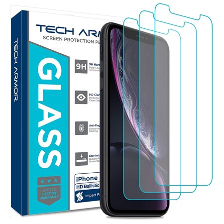 Tech Armor Apple iPhone Xr Ballistic Glass Screen Protector [3-Pack] Case-Friendly Tempered Glass, Haptic Touch Accurate Designed for New 2018 Apple iPhone (Are All Oakleys Ballistic)