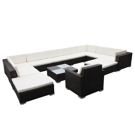 Vidaxl 35 Piece Garden Lounge Set Brown Poly Rattan Walmart Com